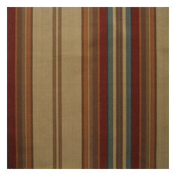 "Close to Custom Linens - 72"" Shower Curtain, Unlined, Carlton Stripe Cardinal Red - Carlton is a varied-width stripe with muted shades of dark red, brown, blue and tan."