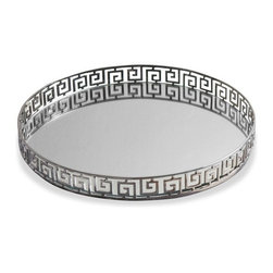 Interlude - Interlude Meandros Round Tray - A classic Greek key design reinterpreted and updated here as the jewelry like trim of a mirror tray.