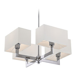 "Quoizel - Contemporary Quoizel Remi 4-Light 29"" Wide Polished Chrome Chandelier - Quoizel's four light chandelier by the Remi collection is a contemporary chandelier that adds elegance and sophistication to the room. This piece is characterized by a polished chrome downrod that branches out to four angular arms where each arm holds a square shade. Beautiful in design this chandelier is ideal for the kitchen dinette foyer or dining room. Polished Chrome finish. Takes four maximum 75 watt or equivalent medium base bulbs (not included). 29"" wide. 13 1/2"" high.  Polished Chrome finish.  Takes four maximum 75 watt or equivalent medium base bulbs (not included).  29"" wide.  13 1/2"" high.  Shades are 10 1/2"" wide 5 1/2"" high."