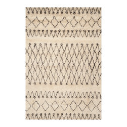 Safavieh - Erwin Handtufted Shag, White / Black 9' X 12' - Emulating the organic beauty of Moroccan rug weaving, the Lina rug from the Casablanca 800 collection by Safavieh is hand-tufted of pure long pile wool.  Simple graphic motifs in natural white and black provide a neutral foundation for transitional rooms.