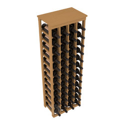 "48 Bottle Kitchen Wine Rack in Pine with Oak Stain - Store 4 complete cases of wine in less than 20"" of wall space. Just over 4 feet tall, this narrow wine rack fits perfectly in hallways, closets and other ""catch-all"" spaces in your home or den. The solid wood top serves as a shelf or table top for added convenience and storage of nick-nacks."