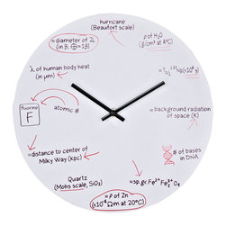 Modway Furniture - Modway Science Wall Clock in White - Wall Clock in White belongs to Science Collection by Modway Test your knowledge when telling time. With scientific equations at each number space, this clock makes sure you do not forget all the lessons your science teachers taught you. Each hour represents its own scientific equation: 1 o'clock Physics, 2 o'clock nuclear physics, 3 o'clock astronomy and thermodynamics, 4 o'clock genetics, 5 o'clock geology and chemistry, 6 o'clock physics, 7 o'clock geology, 8 o'clock astronomy, 9 o'clock chemistry, 10 o'clock human anatomy and physics, 11 o'clock astronomy and 12 o'clock meteorology. White powder coated metal background is made to look like a whiteboard with equations written in black and red ink. The perfect gift for your favorite braniac. Set Includes: One - Science Quiz Wall Clock Wall Clock (1)