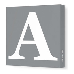 """Avalisa - Letter - Upper Case 'A' Stretched Wall Art, Gray, 28"""" x 28"""" - Spell it out loud. These uppercase letters on stretched canvas would look wonderful in a nursery touting your little one's name, but don't stop there; they could work most anywhere in the home you'd like to add some playful text to the walls. Mix and match colors for a truly fun feel or stick to one color for a more uniform look."""