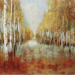 Paragon Decor - Along the Path Artwork - Birch trees line an unending forest pathway.  Canvas features a gallery style wrap.