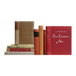 Booth and Williams - Consigned Vintage Red Art and Art History Books, Set of 9 - Red and Tan Art and Art History, S/9. Various authors and publishers: 1921-1980. Nine hardcover volumes feature selected art and art history books accented with muted  red and tan bindings. Includes: The Art and Architecture of China, Michelangelo: Paintings, Sculpture, Architecture, Drawings of the Masters: German Drawings, Techniques of the Great Masterpieces of Art and others. Comprehensive and insightful text with numerous illustrations in color and black-and-white, perfect for reading and decor.