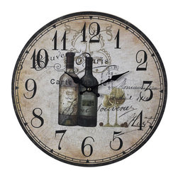 Sterling Industries - Sterling Industries 118-032 Sterling Wine Bottles Wall Clock - No Wine Enthusiast Can Be Without The Wine Bottles Clock By Sterling. Inspired By Two Of The World'S Largest Producing Wine Regions, France And Italy, It Is Only Natural That This Wall Clock Represents Those Two Regions In An Old-World European Fashion. This Vintage Clock Features A Beautiful, Aged And Weathered Face With Two Bottles Of Wine From The Regions Of Tuscany Along With Faded Words Inscribed In French, Both Giving The Clock Its Unique Character. For A French Or Mediterranean Country Inspired Decor, This Would Make A Lovely Addition In  The Kitchen, Family Room, Media Room Or Behind The Bar. Wood Clock Measures 13 Inches In Diameter.   Clock (1)