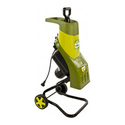 "Snow Joe - Electric Wood Chipper Shredder - Sun Joe Chipper Joe 14 AMP Electric Wood Chipper/Shredder handles sticks and branches up to 1.5"" thick, 6"" Wheels, compact design, safety hooper locking knob prevents the motor from operating when opened, weight: 26.23 pounds, ETL approved."