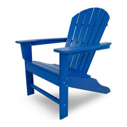 Polywood - Eco-friendly Adirondack Armchair in Pacific Blue - Beach bodies will enjoy the roomy seat and curved back of this comfortable chair. Want to turn your outdoor living space into the hottest spot in the neighborhood? Its easy with the South Beach Collection. Just like the popular Miami Beach scene, You'll enjoy an eclectic blend of bold art deco along with the relaxed comfort and style that you've come to expect from traditional Adirondack furniture. This collection not only looks amazing, but its also built to last for years to come. Provides the look of painted wood without the maintenance