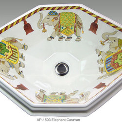 "Hand Painted Drop-in Sinks by Atlantis - ""ELEPHANT CARAVAN"" Shown on AP-1503 Seville drop-in sink O/D 20"" W x 16"" D center drain with overflow."