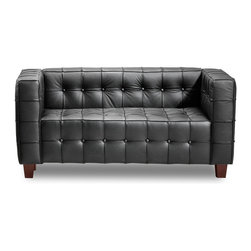 Zuo - Button Loveseat, Black - The Button loveseat brings sophistication and luxury into any space.  This loveseat has leather seating and and leatherette sides and back for durability and easy cleaning.  The legs are made of wood.  Available in black and white.