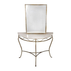 Pre-owned Demilune Console Table and Mirror - A Hollywood-style, elegant demilune console table with a matching mirror. The set features a beautiful and very distinct greyish colored metal base on the table and mirror. It will look gorgeous in an entry hall. The table has been repaired (see photo with crack) but it looks good regardless.