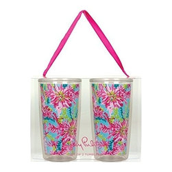 Lilly Pulitzer - Lilly Pulitzer Insulated Tumbler Set, Trippin' and Sippin' - Get chilled with our Lilly Pulitzer Insulated Tumbler, where you can keep your drinks cool and its classy better look will make you centre of attraction. This double walled tumbler which holds 16 ounce capacity drink is perfect for poolside refreshment or the everyday bustle with your loved one.