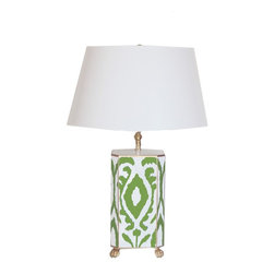 Green Ikat Lamp - Hand Painted Tole, Please specify White or Black Shade