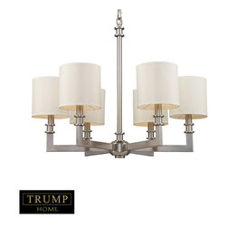 Trump Home Seven Springs 6-Light Chandelier in Satin Nickel - Individuality is what defines this exquisite line of hand-blown glass. This ancient technique of fine craftsmanship ensures that quality and originality is at the heart of every piece. Each piece is meticulously hand-blown with up to three layers of uncompromising beauty and style. This art is performed only by skilled craftsmen who uphold the highest standards to ensure a unique identity throughout each layer. The special technique of layering allows light to spread evenly across the glass resulting in a warm glow over the entire surface. The Trump Home