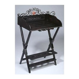 AA Importing - Wood Wine Rack w Decorative Metal Scrollwork - Wine rack and table in one. Bottom is a folding stand with bottle holder in the base. Top is a lift off tray with stemware holder underneath and metal accent scrollwork. Pictured in Black. 24 in. L x 16 in. W x 38.5 in. H (124 lbs.)