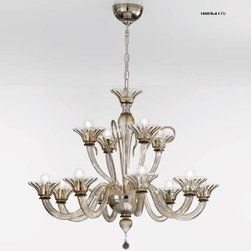 Lightology Collection - Two Tier 1460 Chandelier - Two Tier 1460 Chandelier from the Soffio Collection is available in a Chrome or Gold finish with Crystal, Milk White, Amber Detailing, Smoked or Black glass finish.  Available in a 12, 18, or 24 arm option.  40 watt, 120 volt G9 globe shape Candelabra base incandescent lamps are required but not included.  12 Arm: 35.43 inch width x 29.92 inch height. 18 Arm: 55.125 inch width x 44.09 inch height. 24 Arm: 59.06 inch width x 44.09 inch height. Weight up to 85 lbs.