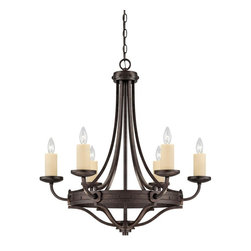 Savoy House Lighting - Savoy House 1-2010-6-05 Elba 6 Light Chandelier, Oiled Copper - Oversized candle sleeves and long, clean lines, and a chunky riveted detail all finished in Oiled Copper add to the authenticity of this forged iron piece.