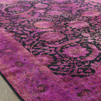 Overdyed Rugs - Dyed in plum color brings a touch of nature into any home. Faded effect in this classic design makes it an exotic rug for your home. Because of manual over-dying in natural vegetable dyes it is fully Eco-friendly and unique. This exotic collection will give your life a unique and complete touch.
