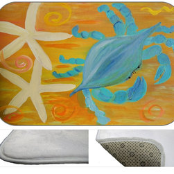 Star Fish Crab Plush Bath Mat, 30X20 - Bath mats from my original art and designs. Super soft plush fabric with a non skid backing. Eco friendly water base dyes that will not fade or alter the texture of the fabric. Washable 100 % polyester and mold resistant. Great for the bath room or anywhere in the home. At 1/2 inch thick our mats are softer and more plush than the typical comfort mats.Your toes will love you.