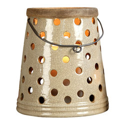 Baxter Hanging Lantern - 9 x 10 - Illuminate your garden gatherings or patio soirees with the Baxter Hanging Lantern. A delightful antique white crackle finish and small round cutouts give the lantern a unique aesthetic that works well outdoors among your plants. Hang the lantern by the four inch handle or place on your bistro tables for a more intimate look.