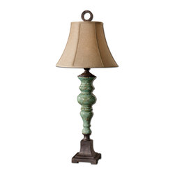 Uttermost - Bettona Aqua Blue Table Lamp - Bring some warm and rustic elegance to your living room with this table lamp. A crackled ceramic glaze contrasts the dark bronze base for a rich look. It's topped off with a beautiful linen shade creating a flattering glow for your reading pleasure.
