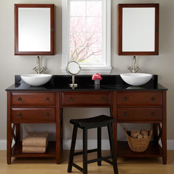 """72"""" Clinton Double Vessel Sink Vanity with Makeup Area - Cherry - Finished in vibrant Cherry, the solid hardwood 72"""" Clinton Double Vanity features a spacious makeup area for getting ready."""