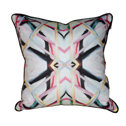 """Lindsay Cowles LLC - Linen Cotton Canvas Pillow, 20""""x20"""" - Linen cotton canvas pillow. Great to add to a sofa, chair, bench or bed! The bright bold fabric, created from Lindsay's '6314' painting, are unique and will be sure to funk up any space! Backing and welt is a solid blue grey linen."""