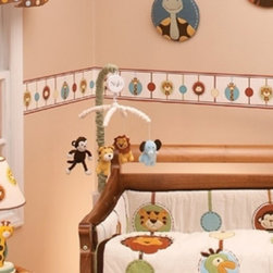 """NoJo - NoJo Jungle Tales Musical Crib Mobile Multicolor - 2517079 - Shop for Mobiles from Hayneedle.com! On the NoJo Jungle Tales Musical Mobile the dangles will dance above baby's head lulling your wee one to sleep to the classic tune of Brahm's Lullaby. Mobile coordinates with other NoJo bedding and accessories. The mobile's characters and canopy can be spot cleaned with a damp cloth or sponge that has been dipped in warm water and mild soap.NoJo baby bedding is manufactured by the Crown Crafts Infant Products Company which focuses on delivering fashion-forward infant and toddler bedding blankets and accessories designed for today's lifestyle. They are dedicated to the promise of """"only the best for baby """" which means they wrap quality style softness and comfort into every product they make."""