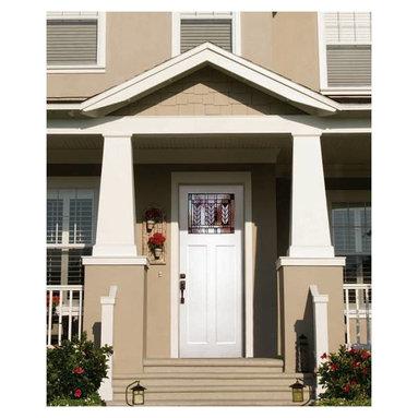 Smooth Skin Fiberglass Door Series - 3/0 x 8/0 Smooth Skin Series: Direct Glazed Craftsman w/ Spring Doorlite ---