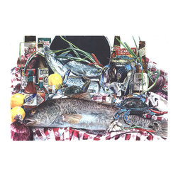 Caroline's Treasures - Fish And Beers From New Orleans Kitchen Or Bath Mat 24X36 - Kitchen or Bath COMFORT FLOOR MAT This mat is 24 inch by 36 inch.  Comfort Mat / Carpet / Rug that is Made and Printed in the USA. A foam cushion is attached to the bottom of the mat for comfort when standing. The mat has been permenantly dyed for moderate traffic. Durable and fade resistant. The back of the mat is rubber backed to keep the mat from slipping on a smooth floor. Use pressure and water from garden hose or power washer to clean the mat.  Vacuuming only with the hard wood floor setting, as to not pull up the knap of the felt.   Avoid soap or cleaner that produces suds when cleaning.  It will be difficult to get the suds out of the mat.