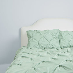 400 Thread Count Pintuck Duvet Cover, The Valencia Seafoam Green - Combining soft tones with modern textures, this 400 thread count pintuck in sea foam green gives a look that is full of volume and elegance.