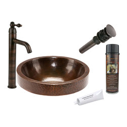Premier Copper Products - Round Skirted Vessel Copper Sink w/ORB Faucet - PACKAGE INCLUDES: