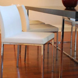 Aria Chrome Chair by sohoConcept - A wonderful take on sleek minimalist chair design, the Aria Chrome Chair offers great style and comfort. This little chair features chromed steel legs and a slightly curved back put together in a most appealing way.