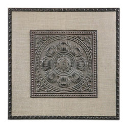 Uttermost - Uttermost 13826  Filandari Stamped Metal Wall Art - Lightly stained burlap matting with stamped metal details finished in rust bronze with a light tan wash.
