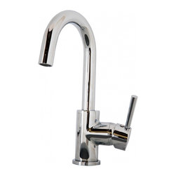 """Virtu USA - Polished Chrome Single Hole Kitchen Faucet - The Lithios single handle kitchen faucet comes complete with housing designed to resist the wear and everyday use and then some. Take notice in the beautiful modern design accompanied by an ADA compliant lever handle for a much more simpler accessibility. It is immaculately designed with simplicity while maintaining multifunctional purposes. The Lithios kitchen faucet was designed with both luxury and practicality in mind. Finish: Polished Chrome; Control Handle: Single Lever Water and Temperature Control; Configuration: Single-Hole; Material: Solid Brass with Ceramic Cartridge; Dimensions: 2.3""""W X 6""""D X 10.9""""H; Included: All Mounting Hardware and Hot/Cold Waterlines; Standard US Plumbing Connections"""