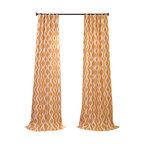 Exclusive Fabrics & Furnishings, LLC - Medina Printed Cotton Curtain - Spread some juicy color and sweet style around your windows. These lined stunners feature fresh white curvy links atop golden apricot backgrounds. Each 50-inch-wide cotton panel comes in a variety of lengths with both a three-inch-wide rod pocket and hidden back tabs for hanging versatility.