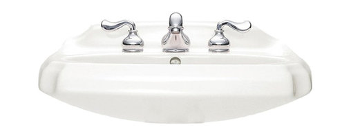 """American Standard - American Standard 0228.018.020 Antiquity Sink Top, White - American Standard 0228.018.020 Antiquity Sink Top, White. This pedistal sink top is designed with a vitreous china construction, and a turn-of-the-century detailing. It features a rear overflow, a faucet ledge with a large deck area, and a supplied mounting kit. This model features 8"""" centered faucet mounting holes, and it measures 24-1/2"""" by 19"""", with a 5-1/2"""" bowl depth."""