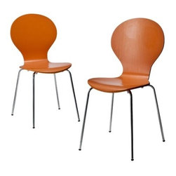 Stacking Chair - Orange - Set of 2 - These bright orange bent plywood chairs will add a splash of color to any room in your house. Sold in pairs, the modern styling and easy assembly of these chairs, combined with their affordability makes them a fantastic buy. Whether they're used for dining or desk chairs, they're comfortable and versatile enough to be at home in any room in your house. They're also stackable for easy and space efficient storage.