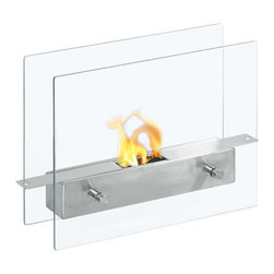 Moda Flame - Moda Flame Ibiza Table Top Ethanol Fireplace - The Ibiza modern ethanol personal table top fireplace is small and cute, yet sexy and sophisticated. Suitable for any table, counter, or bar, the Ibiza sits comfortably on two vertical tempered glass sheets. The flame seems to float and is visible from all angles.
