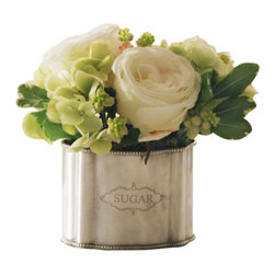 Winward Designs - Rose Hydrangea In Caddy Flower Arrangement - A petite and sweet designed floral bouquet of beautiful roses and delicate hydrangea blossom in elegant sugar silver container.