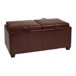 Office Star - Office Star Storage Ottoman in Red with Dual Trays & Seat Cushions - OSP Designs Storage Ottoman in Crimson Red with Dual Trays & Seat Cushions