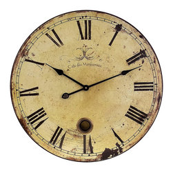 iMax - iMax Large Wall Clock with Pendulum X-1152 - Popular Antiqued and distressed Large Wall Clock with Pendulum