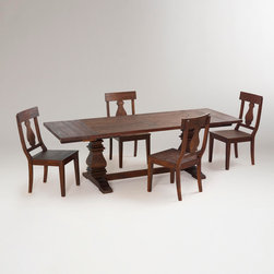 Arcadia Extension Table-Arcadia Extension Table | World Market - With the two large wood pedestals at either end, this is a nicely proportioned table for larger spaces. Comfortably seats 10.
