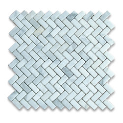 "Stone Center Corp - Calacatta Gold Marble Herringbone Mosaic Tile 5/8 x 1 1/4 Tumbled - Calacatta gold marble 5/8"" x 1 1/4"" pieces mounted on 12"" x 12"" sturdy mesh tile sheet"