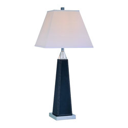 Lite Source - Chrome 1 Light Table Lamp with White Fabric Shade from the Edena Collection - Lite Source LS-21497 Edena Table Lamp, Black Leather This Lite Source item is available in a black leather finish. Features off-white fabric shade(s).