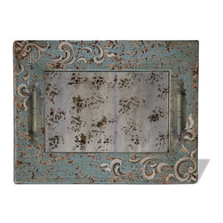 Mirror Accessory Tray, Turquoise Distressed with Scrolls - Mirror Accessory Tray, Turquoise Distressed with Scrolls