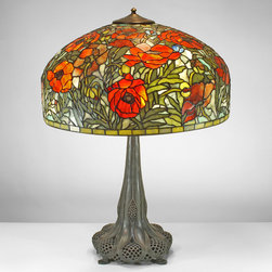 22-inch Parade of Oriental Poppies Gemstone Tiffany-Style Table Lamp - 22-inch Parade of Oriental Poppies Gemstone Tiffany-Style Table Lamp.