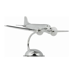 """Authentic Models - Desktop DC-3 Airplane Model - Add a touch of beauty to your home decor with this lovely authentic model airplane! Made of high quality aluminum, this DC-3 model will surely enhance any part of your home and office. The Desktop DC-3, a work of genius: a great look,and the ability to land anywhere. This hand polished aluminum desktop model will please any pilot!   * Dimensions: Model is 10.75"""" wide, 14.25"""" tall and 7"""" deep."""