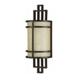 Murray Feiss Lighting - Murray Feiss Lighting-WB1283GBZ-The Fusion Collection Wall Bracket - 1Lgt Half ( - East meets west in this casual contemporary collection inspired both by Asian and Mission style motifs. The oval ribbed glass shades are reminiscent of floating shoji screen shades. The center columns & arms have a geometric pattern inspired by Frank Lloyd Wright, Charles Rennie Mackintosh as well as the classic Asian designs which preceded both.