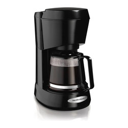 Hamilton Beach - Coffeemaker 5 Cup Black - This Hamilton Beach 5-Cup Coffeemaker lets you get that first cup fast. Cone-shaped brew basket swings out for easy access. It features auto pause and serve, lighted on/off switch, nonstick hot plate and dishwasher safe carafe and brew basket.